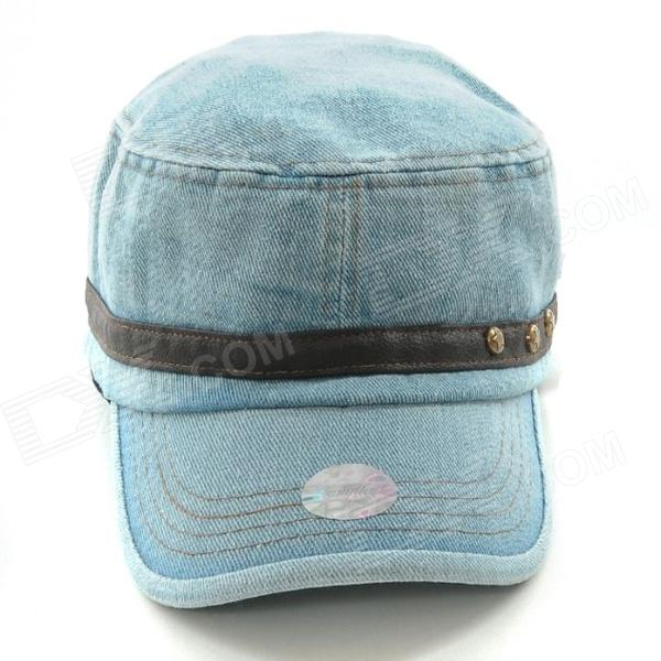 FenLu Fashionable Rivet Detail Cowboy Cap Hat - Light Blue
