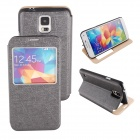 Elonbo Texture PU Leather Flip-open  Full Body Case w/ Stand for Samsung Galaxy S5 - Black