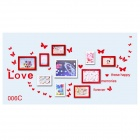 Butterflies + Love Pattern Home Decorative PVC Wall Sticker - Red