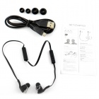 Wireless Bluetooth V3.0 Stereo In-Ear Earphone w/ Mic. / Music / Video / Voice Prompt - Black