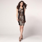 Women's Sexy Leopard Print Skinny Tight Knee-Length Midi Dress - Black Leopard