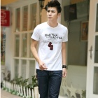 Slim Simple Men 's Round Neck Cotton Short-sleeved T-shirt - White (XL)