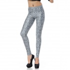 Elonbo Y1B21 Women's Diamond Digital Painting Tight Leggings - White + Black