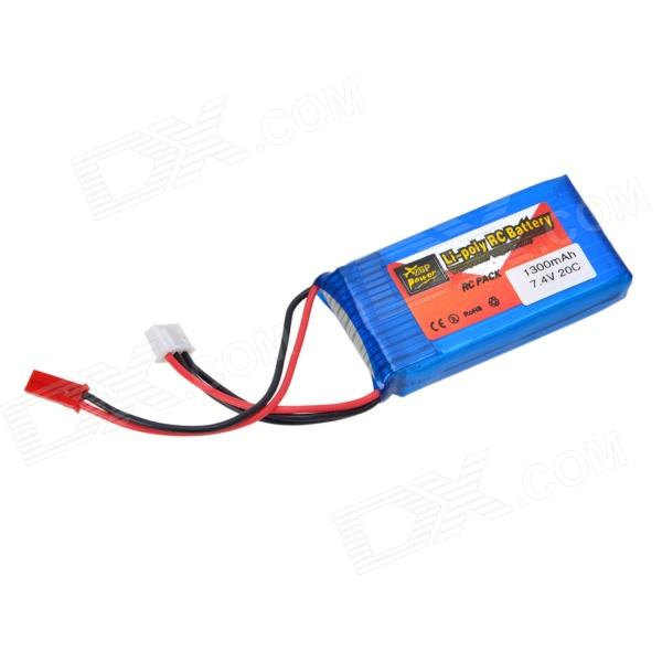 Zop 7.4V 1300mAh Lithium Polymer Battery for RC Models - Blue + Red