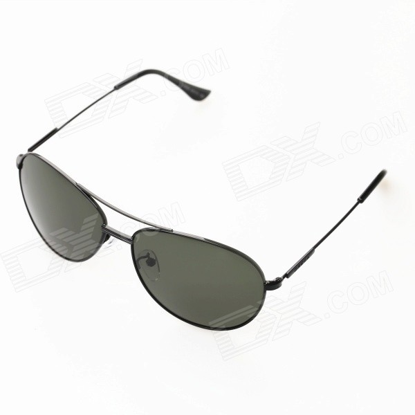 OREKA OR969 UV400 Protection High-nickel Alloy Frame Polarized Sunglasses - Black + Dark Green stylish uv400 protection polarized sunglasses black green