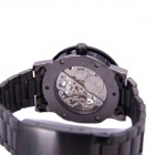SEW128 Men's Skeleton Dial Steel Band  Manual Mechanical Analog Wristwatch - Black + White