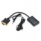 VGA till HDMI-TV PC anslutningskabel med 3.5mm Audio Jack Plug + USB kabel - svart