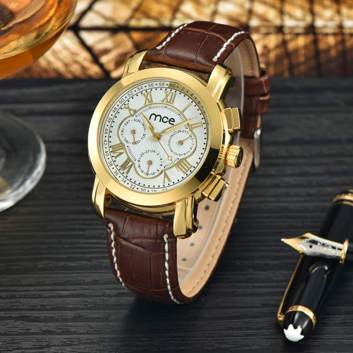 mce Men's Fashion PU Band Analog Mechanical Watch - Golden + White
