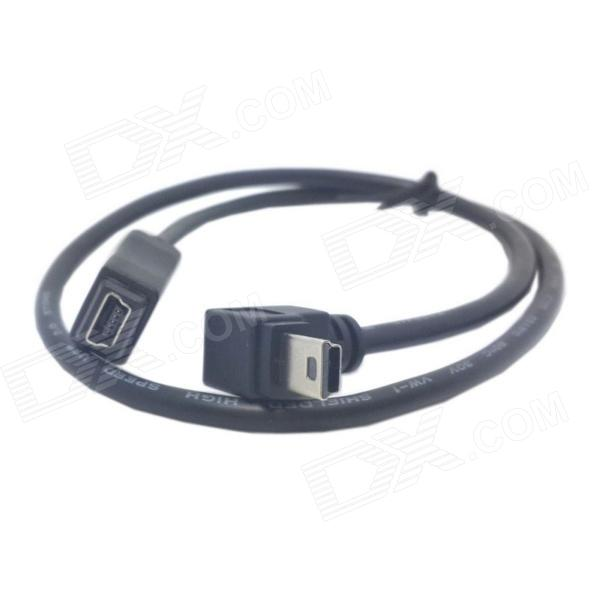 CY U2-052 Mini USB Right Angle Male to Female Extension Cable - Black (50cm)