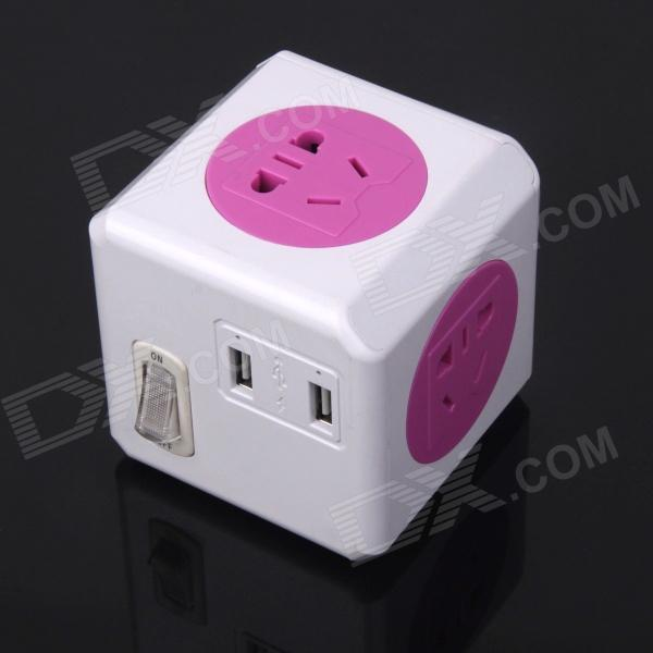 ZnDiy-BRY LD0008-2 10A 2500W Mini 3-Flat-Pin Plug Power Socket w/ Dual USB / Switch - White + Pink