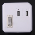 ZnDiy-BRY LD0008-2 10A 2500W Mini 3-plat-Pin Plug Power Socket w / USB Dual / Switch - blanc + rose