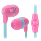 IN-051 3.5mm In-Ear Style Earphone w/ Mic for IPHONE / Samsung / HTC - Pink + Light Blue (110cm)