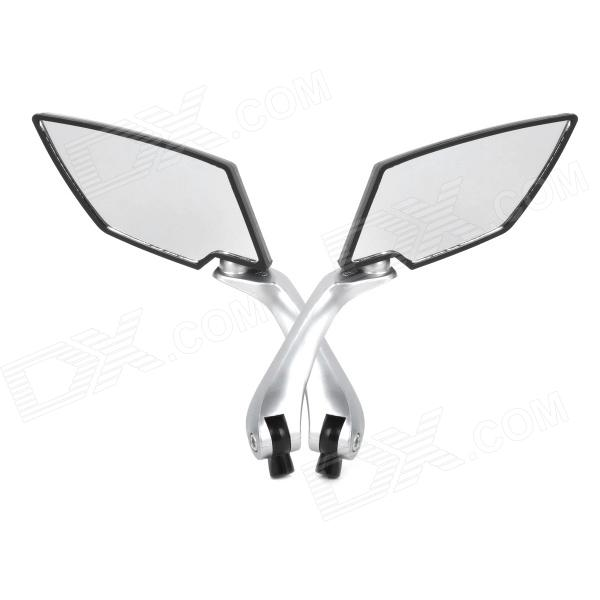 DIY Rhombus Shaped Motorcycle Rearview Mirror - Silver + Black (1 Set)