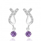 CE511 Stylish Shiny Crystal Inlaid Pendant Earrings - Silver + Purple (2 PCS)