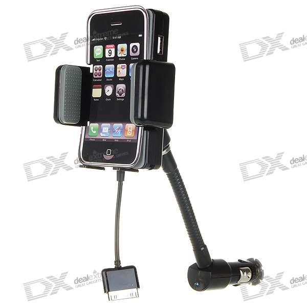 "1.2"" LCD Full Range FM Transmitter with Car Charger and Holder Mount for iPhone 3G/3GS"