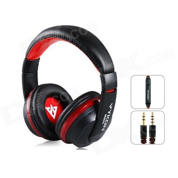 MQ55 3.5mm Plug On-ear Stereo Headphones with Microphone & 1.2m Cable - Black + Red стоимость