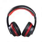 MQ55 3.5mm Plug On-ear Stereo Headphones with Microphone & 1.2m Cable - Black + Red