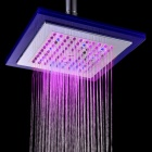 "YDL-8030-C5 8"" Temperature Control 8-LED RGB Light Square Shower Head - Silver + Transparent Blue"
