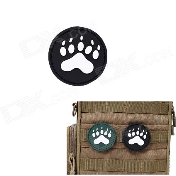 MK Round Dog Footprints Tactical Velcro Sticker Backpack Armband - Black (S)