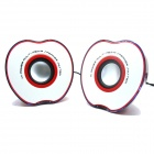 Portable L-017 Apple Style USB Powered 3.5mm Wired Desktop Speaker Set for PC / Laptop - Red + White