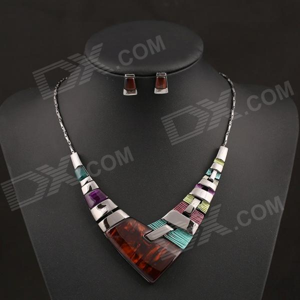 SAPREAL JT1003 Colored Rhinestone Ornament Zinc Alloy Necklace + Earring Jewelry Set - Multicolored