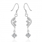 Fashionable Shiny Silver Plated Zircon Inlaid Rhinestone Drop Earrings - Silver (2 PCS)