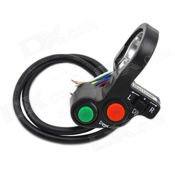 MaiTech Headlight + Turning Light + Horn 3-in-1 Switch for Motorcycle - Black