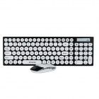 R.horse RH-9350 2.4GHz Wireless 105-Key Keyboard + Optical Mouse Set - White + Black