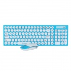 R.horse RH-9350 2.4GHz Wireless 105-Key Keyboard + Optical Mouse Set - Blue + White
