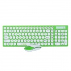 R.horse RH-9350 2.4GHz Wireless 105-Key Keyboard + Optical Mouse Set - Green + White