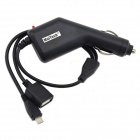 MaiTech Universal 3A Micro USB Male + USB 2.0 Female Output Car Charger - Black (12~24V)