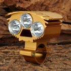 Unique Fire HD-017 3-LED 4-Mode White Light Bicycle Lamp - Golden