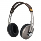 KO-STAR KHM-681 3.5mm Jack Plug HiFi DJ Headphone Headset w/ Microphone - Black + Brown