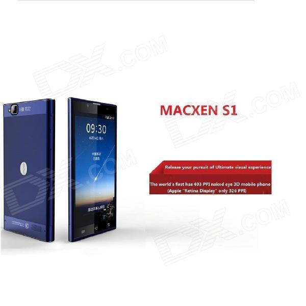 MACXEN S1 MTK6592 Octa-Core Android 4.2 Bar Phone w/ 5.5'' IPS FHD Naked Eye 3D, 32GB ROM - Blue zopo zp1000 android 4 2 octa core wcdma bar phone w 5 0 screen wi fi and rom 16gb blue black