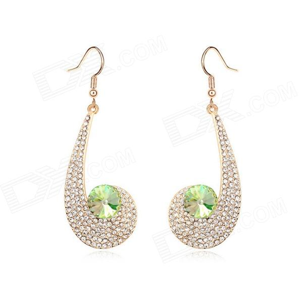 Angibabe Crystal Zinc Alloy Earrings - Green + Gold stylish zinc alloy earrings white golden pair