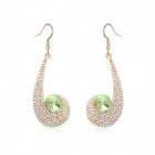 Angibabe Austrian Crystal Zinc Alloy Earrings - Green + Gold
