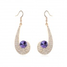 Angibabe Austrian Crystal Zinc Alloy Earrings - Purple + Gold (2 PCS)