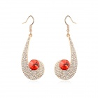 Angibabe Austrian Crystal Zinc Alloy Earrings - Red + Gold (2 PCS)