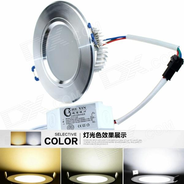 CXHEXIN H6+6 3'' 12W 720lm 24-5630 SMD LED Dimmable Light Ceiling Lamp - Silver + White (AC 85~265V) kinfire circular 6w 420lm 6500k 30 x smd 3528 led white light ceiling lamp w driver ac 85 265v