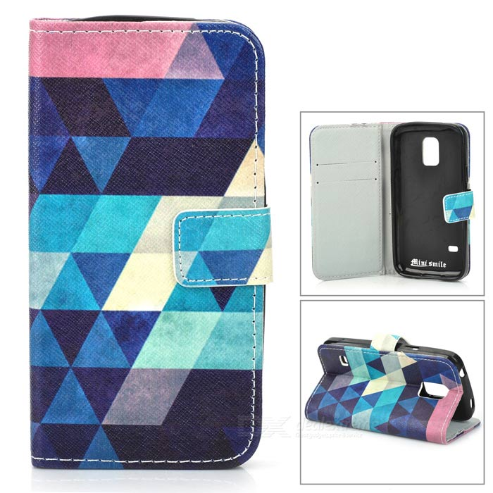 Argyle Flip-open PU + TPU Case w/ Stand / Card Slots for Samsung Galaxy S5 Mini - Dark Blue + Blue protective flip open pu case w stand card slots for samsung galaxy s3 mini i8190