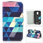 Argyle Flip-open PU + TPU Case w/ Stand / Card Slots for Samsung Galaxy S5 Mini - Dark Blue + Blue