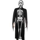 Halloween Skeleton Style Cosplay Costume + Face Mask + Fingernails Set - Black + White