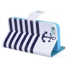 Striped Flip-open PU Leather Case w/ Stand / Card Slots for IPHONE 5 / 5S - White + Blue