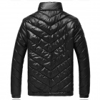 MY110 Men's Polyester Winter Warm Zippered Coat - Black (XXXL)