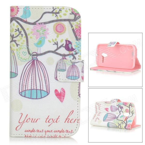 Birds / Birdcages Patterned PU Leather Full Body Case w/ Stand / Card Slots for MOTO X - White + Red