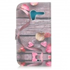"""Love"" Patterned Flip-open PU Leather Case w/ Stand / Card Slots for MOTO X - Grey + Pink"