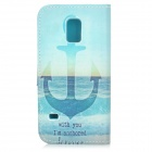 IKKI Anchor Patterned Flip-open PU + TPU Case w/ Stand for Samsung Galaxy S5 Mini - Dark Blue + Blue