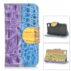 SCS-162 Purse Style Protective PU + PC Full Body Case w/ Chain for IPHONE 4 / 4S - Purple + Blue