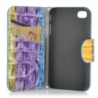 Case SCS-162 Sac à main style de protection PU + PC Full Body w / Chain pour iPhone 4 / 4S - Violet + Bleu