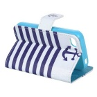 YI-YI Striped Flip-open PU Leather Case w/ Stand / Card Slots for IPHONE 4 / 4S - White + Blue